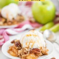 Caramel Apple Dump Cake - One of the easiest cake recipes you will find! Made with butter pecan cake mix, caramel sundae sauce, apple pie filling and pecans.