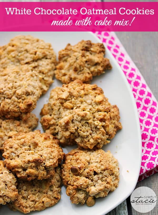 White Chocolate Oatmeal Cookies - These cake mix cookies are great for big batch cooking. They are easy to change up using different cake mixes and add in's. These cookies are full of oatmeal and white chocolate chips.
