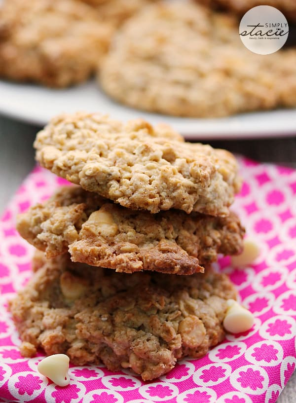 White Chocolate Oatmeal Cookies - Super addicting! Made with a box of French Vanilla cake mix.