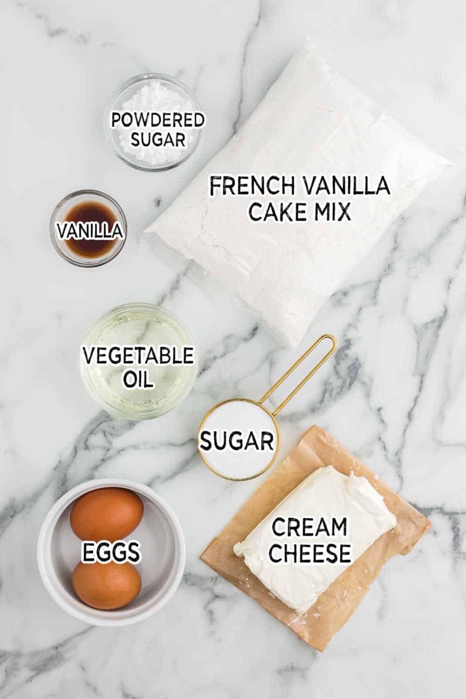 ingredients to make french vanilla cream bars
