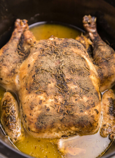 Lemon Herb Slow Cooker Chicken is such a tasty way to cook a whole chicken. Easy to prep, and then set and forget. This slow cooker whole chicken recipe is loaded with herb flavor, tender meat, and a perfect dish for the family to enjoy.