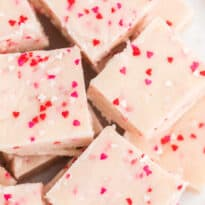 "Valentine's Day Fudge - This vanilla ""fudge"" is made with a secret ingredient - a boxed white cake mix! This versatile sweet treat can be ""changed up"" by using different flavours of cake mix! It's guaranteed to satisfy your sweet tooth."