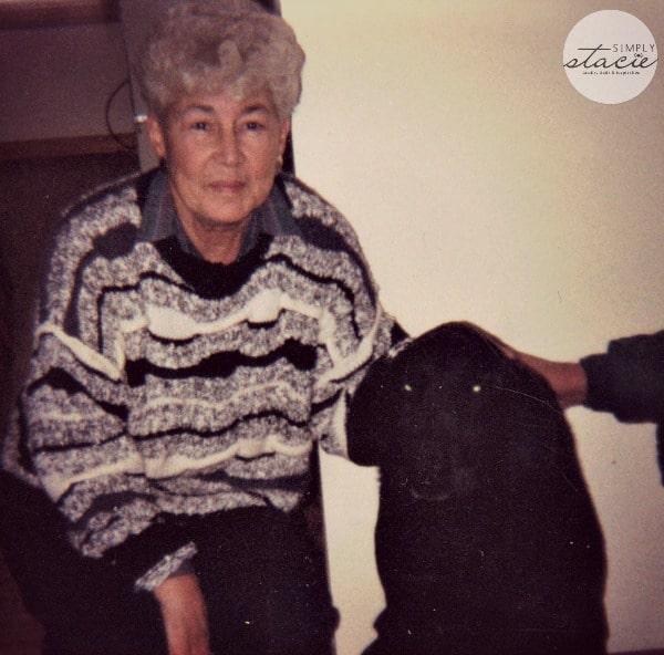 Grandma June and Czar, our black lab