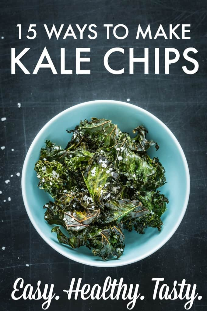 15 Ways to Make Kale Chips - a healthy snack food you can eat without feeling guilty!