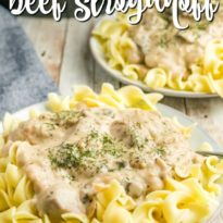 Slow Cooker Beef Stroganoff - A classic recipe made with a creamy mushroom sauce, steak and served over a bed of tender egg noodles. A family favorite!