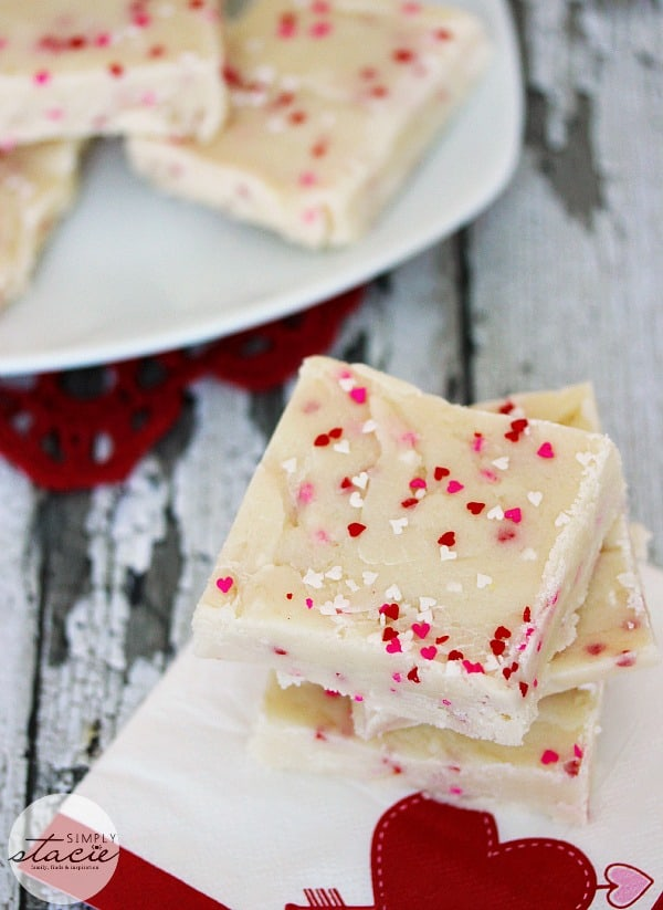 """Valentine's Day Fudge - This vanilla """"fudge"""" is made with a secret ingredient - a boxed white cake mix! This versatile sweet treat can be """"changed up"""" by using different flavours of cake mix! It's guaranteed to satisfy your sweet tooth."""
