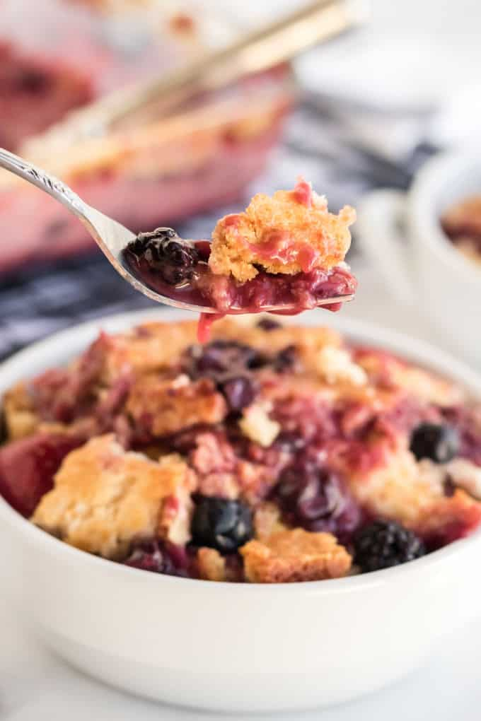 Cake Mix Cobbler - Only three ingredients in this simple recipe - pop, cake mix and frozen fruit!
