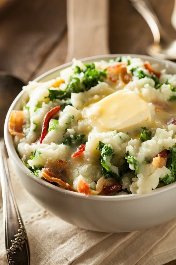 Colecannon - An Irish dish made with mashed potatoes with kale (or cabbage), milk (or cream), butter, salt and pepper.