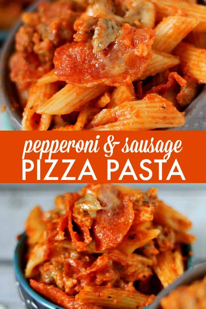Slow Cooker Pepperoni & Sausage Pizza Pasta - filled with all your favorite pizza toppings! I like to call this one comfort food supreme.