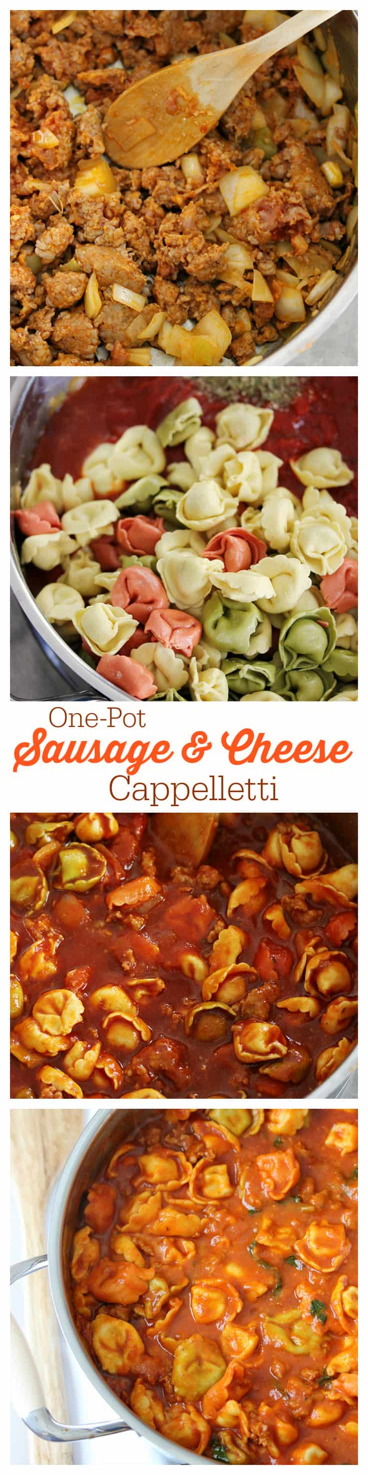 One-Pot Sausage & Cheese Cappelletti - dinner is served in less than 30 minutes with this simple #OnePotPasta recipe! Made with fresh pasta, tomato sauce, hot Italian sausage, cheese and more.