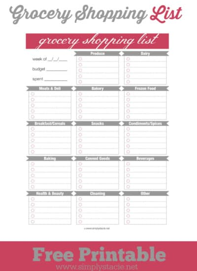 Free Grocery Shopping List Printable