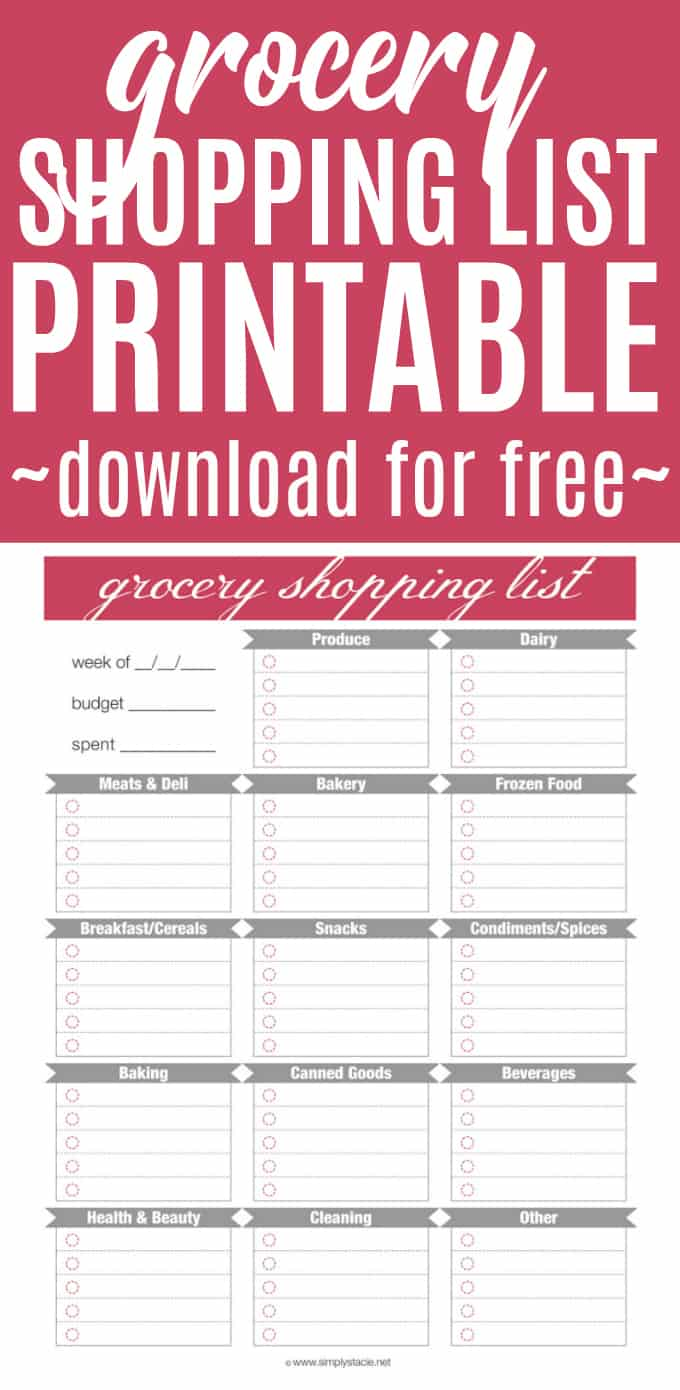 free grocery shopping list printable simply stacie