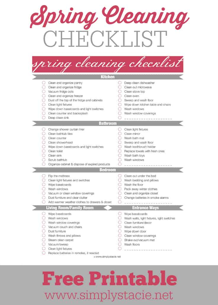 Spring Cleaning Checklist Printable Simply Stacie