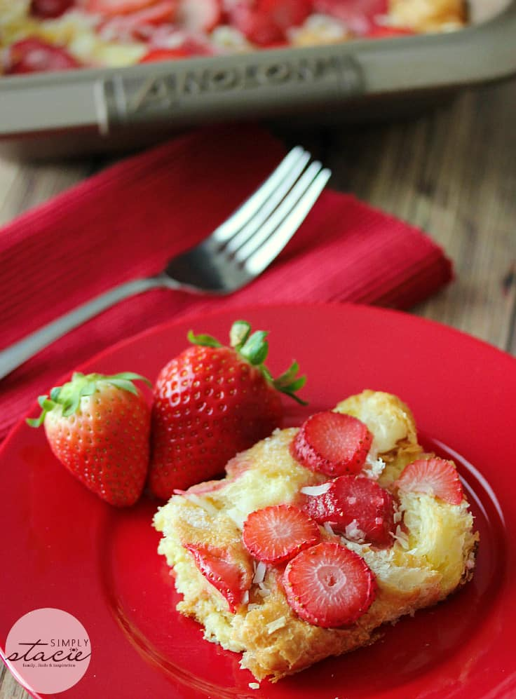 Strawberry & Coconut Breakfast Casserole - Make the night before and in the morning, bake in the oven for a delicious breakfast!