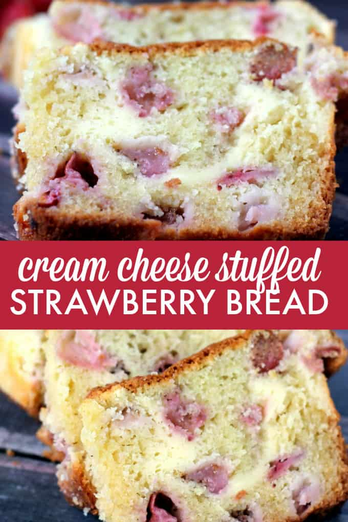 Cream Cheese Stuffed Strawberry Bread - There's no wrong time to serve this moist, fruity bread! Filled with cream cheese swirls, this has a spot on your table from brunch to dessert.