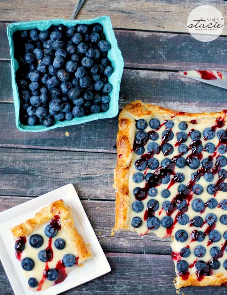 Rustic Blueberry Lemon Tart - A fruity tart that's beautiful and delicious! The light, fluffy puff pastry is the perfect canvas for luscious lemon curd and fresh blueberries.