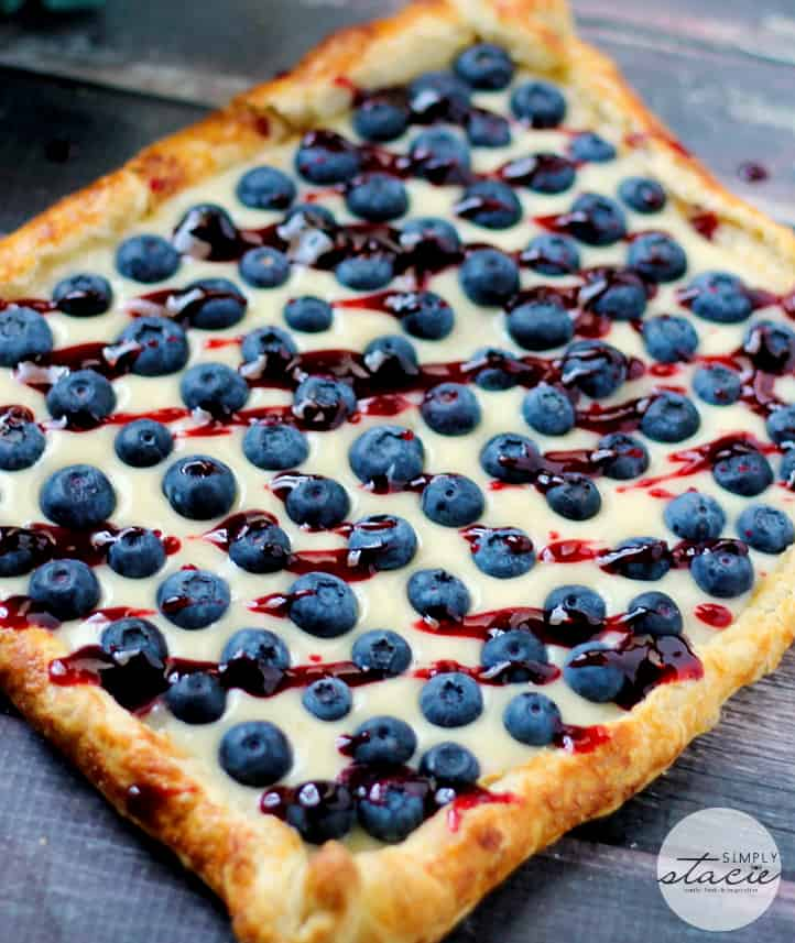 Rustic Blueberry Lemon Tart - With a flaky crust, creamy lemon filling and topped with fresh blueberries and preserves, just thinking about this luscious dessert makes me drool!