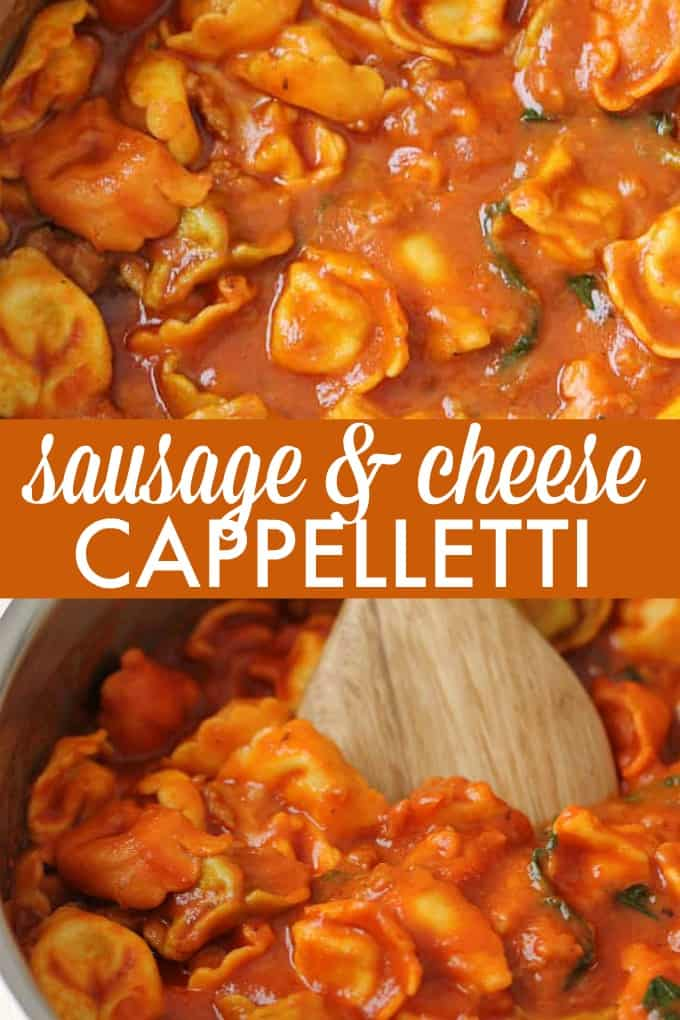 One-Pot Sausage & Cheese Cappelletti - Dinner in a flash! Skip the dishes with this savory pasta dish packed with Italian sausage, mozzarella cheese, basil, garlic, and oregano.