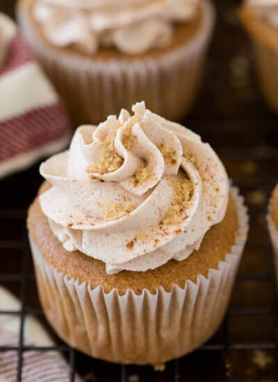 Snickerdoodle Cupcakes - Super moist and delicious! These cupcakes pack the same cinnamon sugar punch as the famous cookies, but have the added benefit of buttercream frosting.