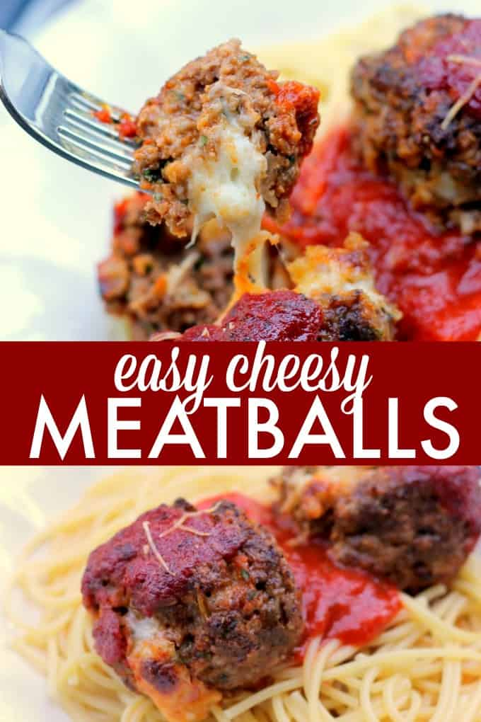Easy Cheesy Meatballs - These stuffed meatballs are perfect with pasta or as a solo dish! Whip them up for a spaghetti dinner or simple party appetizer.