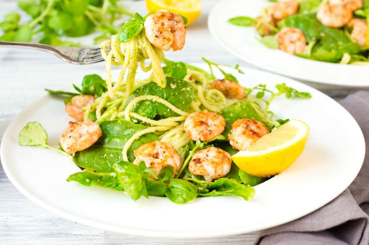 Garlic Shrimp with Chilli Pesto Pasta - Fresh, healthy and delicious dinner recipe.