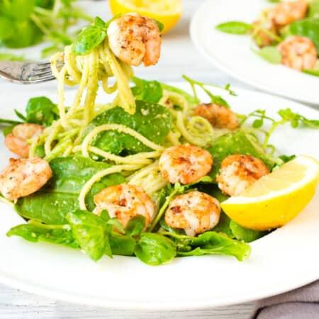 Garlic Shrimp with Chilli Pesto Pasta