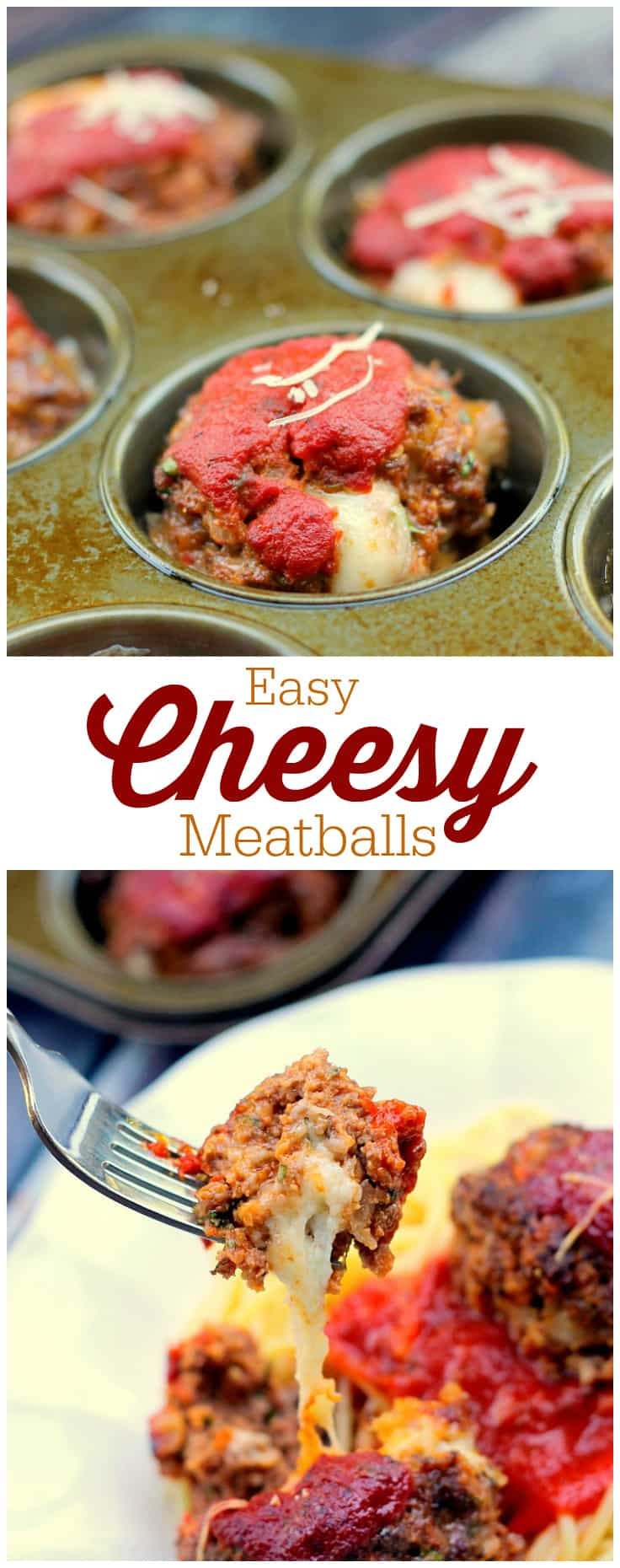 Easy Cheesy Meatballs - so easy to make that even the kids can help make this recipe! Stuffed with melted cheese and served with marinara sauce and pasta for a delicious meal. Yum!