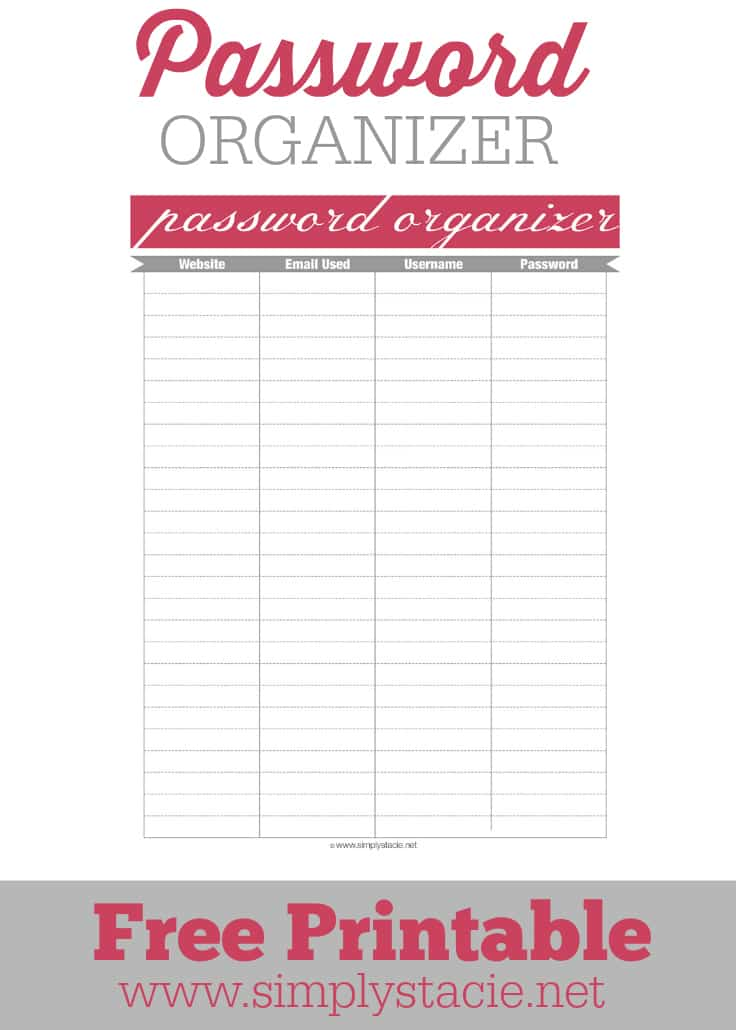 photograph regarding Password Printables titled Pword Organizer Printable - Basically Stacie