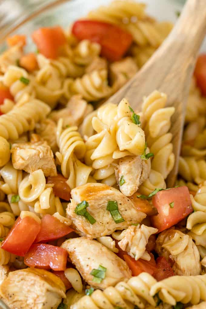 Bruschetta Chicken Pasta Salad - the perfect summer side! People rave about how delicious this recipe is.