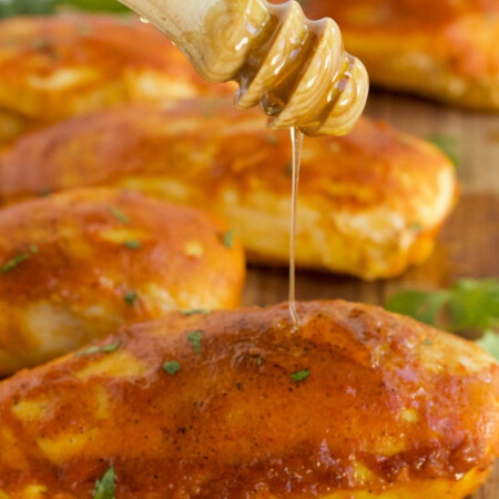 Honey Dijon Chicken - Chicken breasts smothered in honey, Dijon mustard and spices and then baked to perfection!