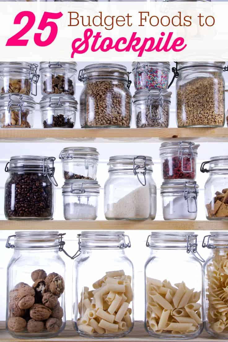 25 Budget Foods to Stockpile - It doesn't have to cost a lot of money to fill your pantry! Keep this list of food on hand for your family in case of emergency or job loss. These foods keep for a long time when stored correctly.