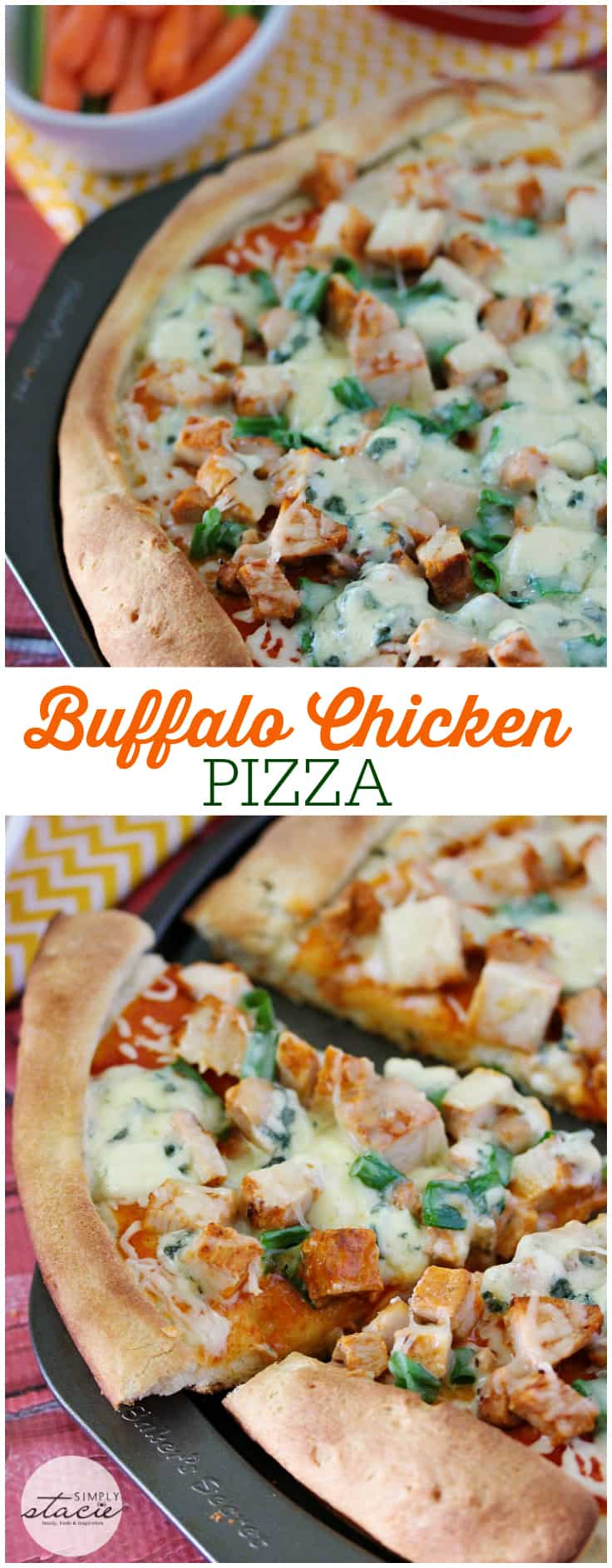 Buffalo Chicken Pizza - All the buffalo flavours we love, but on a pizza! This Buffalo Chicken Pizza recipe is a hit.
