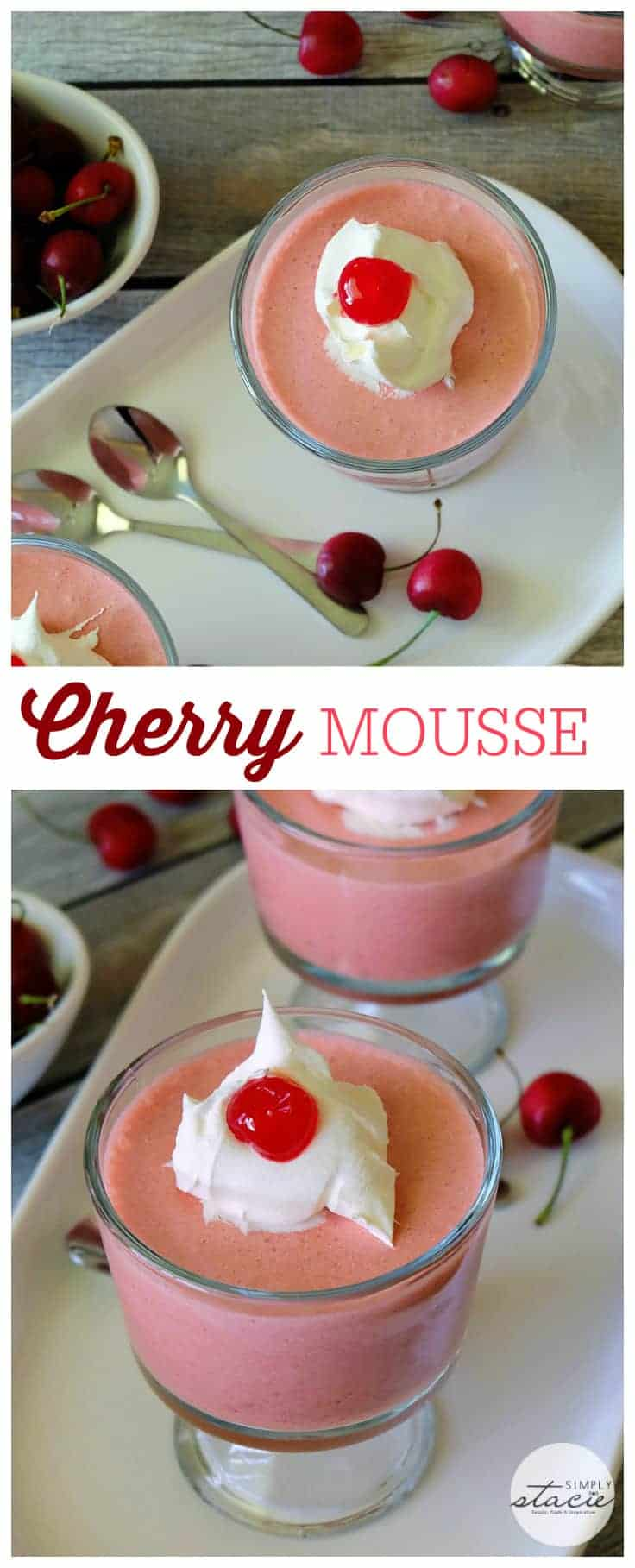 Cherry Mousse - a delightful no-bake dessert recipe made with fresh cherries, Jello, cream cheese and Cool Whip!