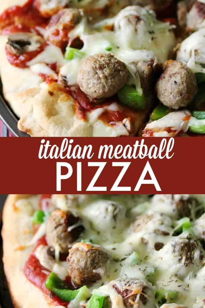 Italian Meatball Pizza - loaded with meatballs, cheese, mushrooms and green peppers. You may want to eat this meal with a fork!