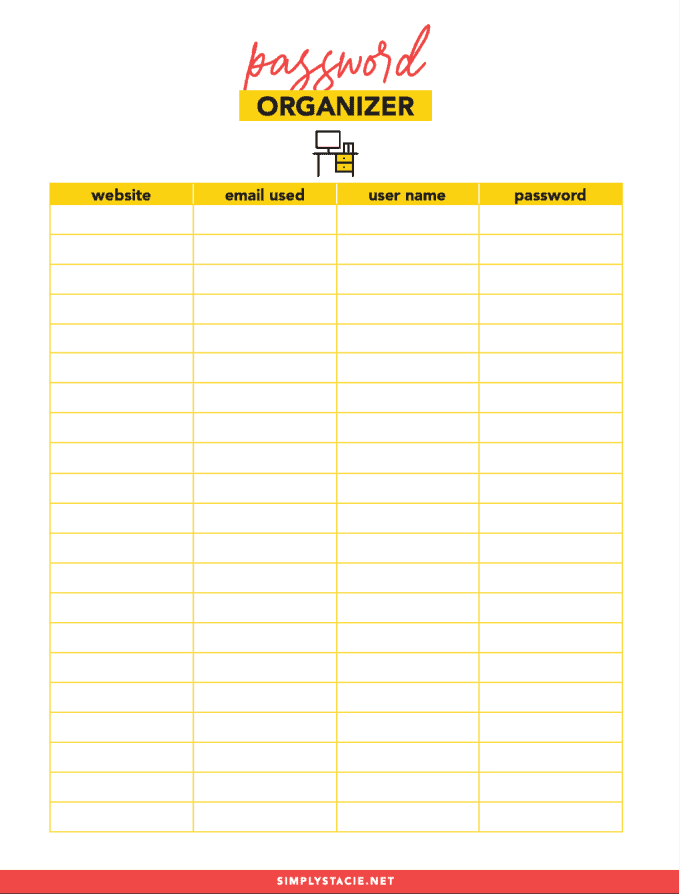 Password Organizer Printable - keep track of all your website passwords with this free printable!
