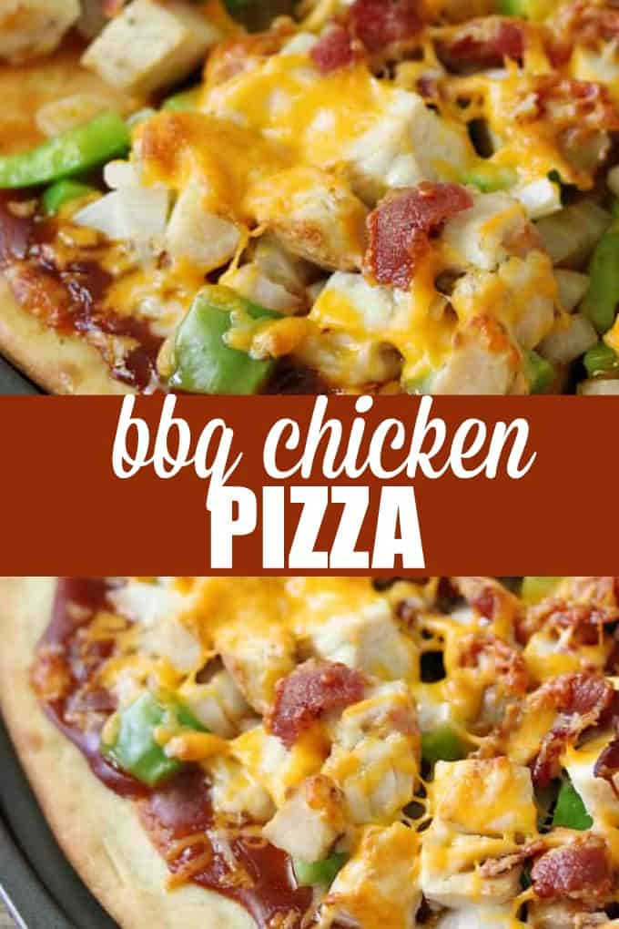 BBQ Chicken Pizza - This homemade pizza is a great sweet and savory combo with smokey barbecue sauce, juicy chicken pieces, and sharp cheddar cheese!