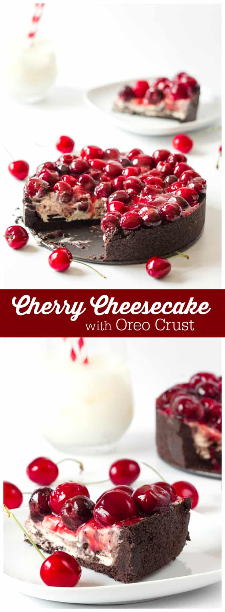 Cherry Cheesecake with Oreo Crust - Chocolate and cherry combine for this decadent dessert! The sweet cheesecake filling melds perfectly with the crunchy cookie crust for a delicious and beautiful treat.