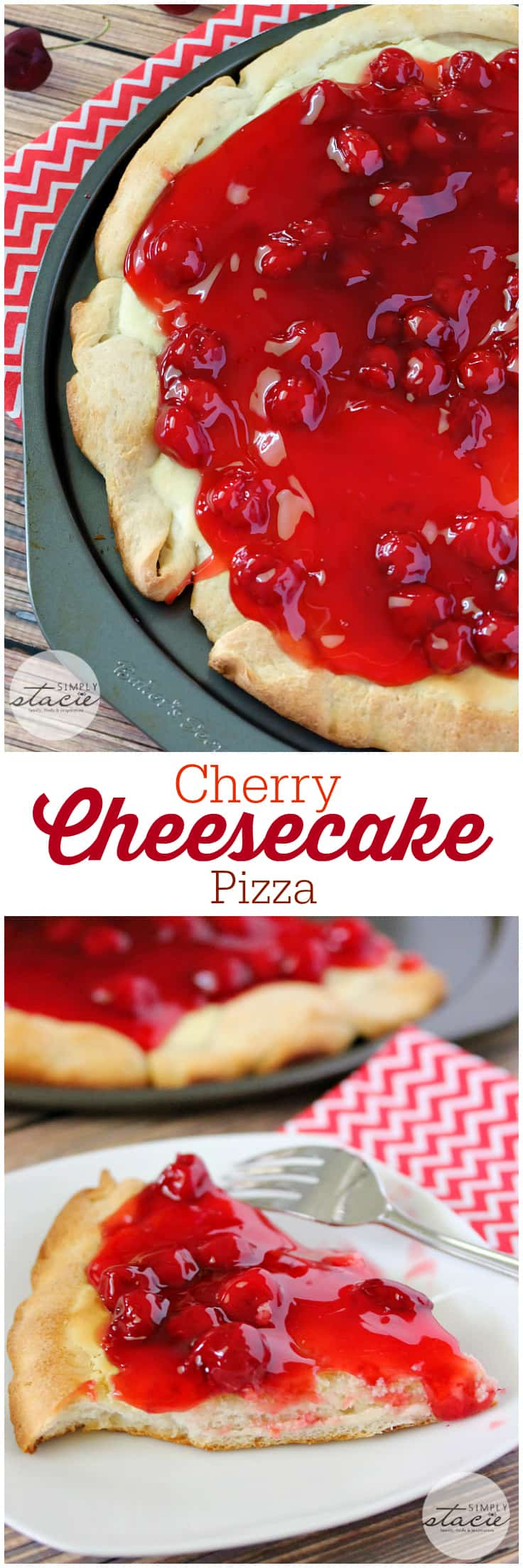 Cherry Cheesecake Pizza - NYC's favorites combined for the best dessert pizza! Smooth cheesecake filling covered with cherries in a thick, sweet syrup is a perfect handheld dessert for your next party.