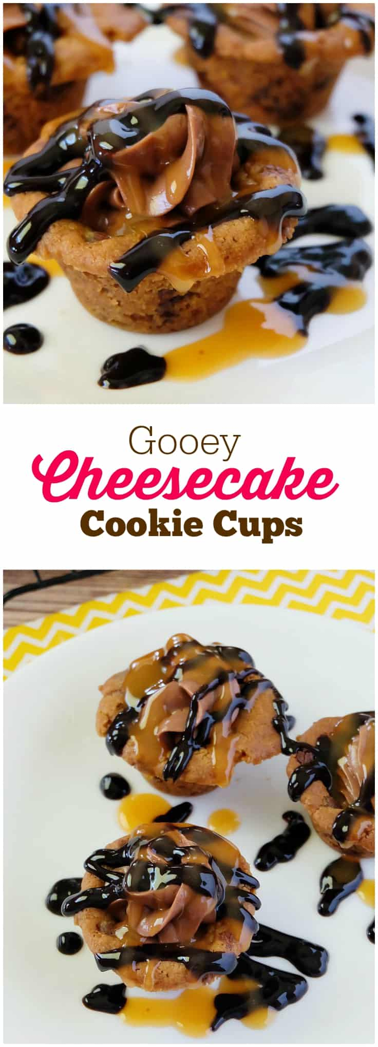 Gooey Cheesecake Cookie Cups - Indulge in these bite sized desserts filled with rich creamy Nutella filling and topped with caramel and chocolate.