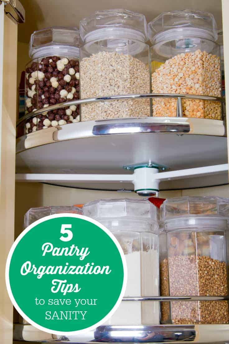 5 Pantry Organization Tips to Save Your Sanity - Having a cluttered pantry wastes time & money! Get rid of that stress with these simple tips.
