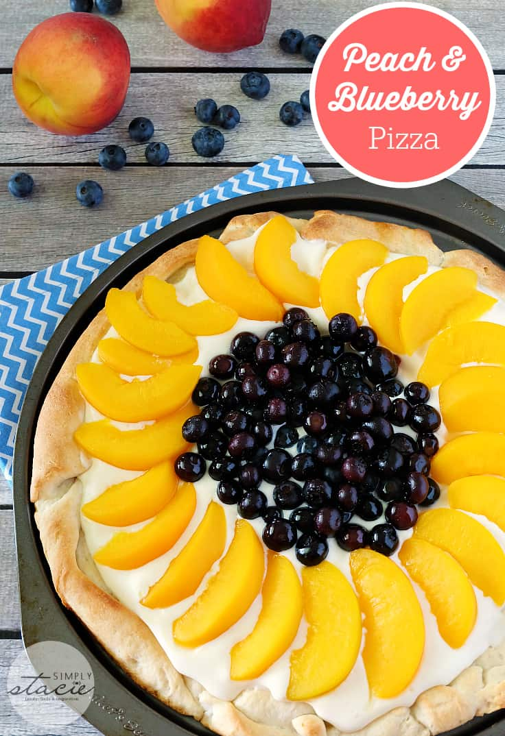 Peach & Blueberry Pizza - Pizza for dessert, yes please! It's topped with a creamy, sweet sauce, fresh blueberries and sliced peaches.