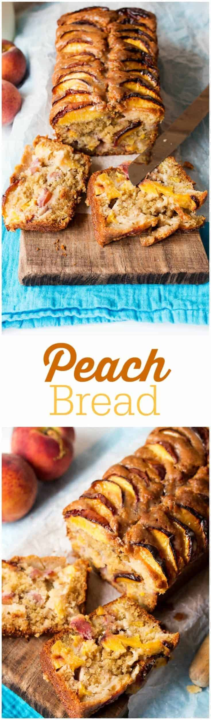 Peach Bread - Moist and fruity with a sticky brown sugar glaze.