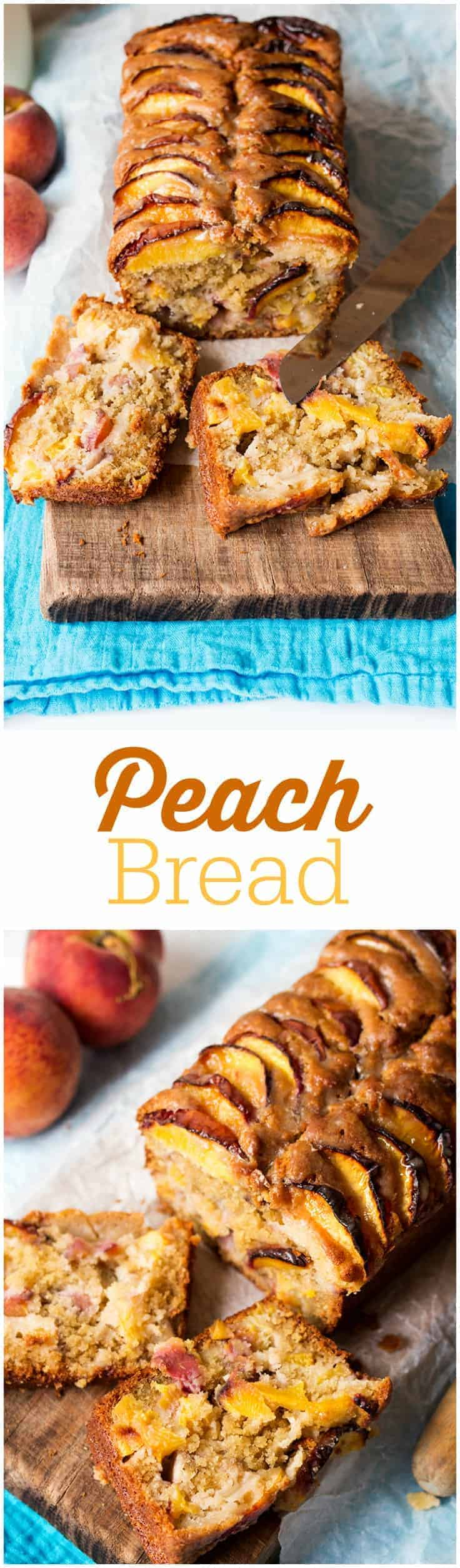 Peach Bread - Great bread for all hours! This easy, fruity loaf is the best peach baked treat out there glazed with brown sugar goodness.