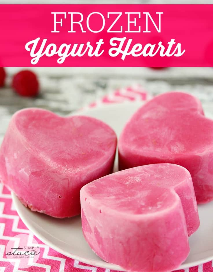 Frozen Yogurt Hearts - a cool treat for a hot day! Made with only TWO ingredients.