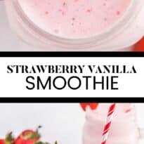 Strawberry Vanilla Smoothie - This delicious and creamy smoothie stays ice cold using convenient frozen strawberries, vanilla yogurt and milk.