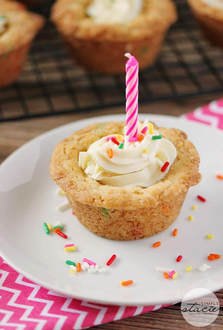 Birthday Cookie Cups - Forget the cake! Celebrate a new birthday tradition with these sweet and buttery desserts.