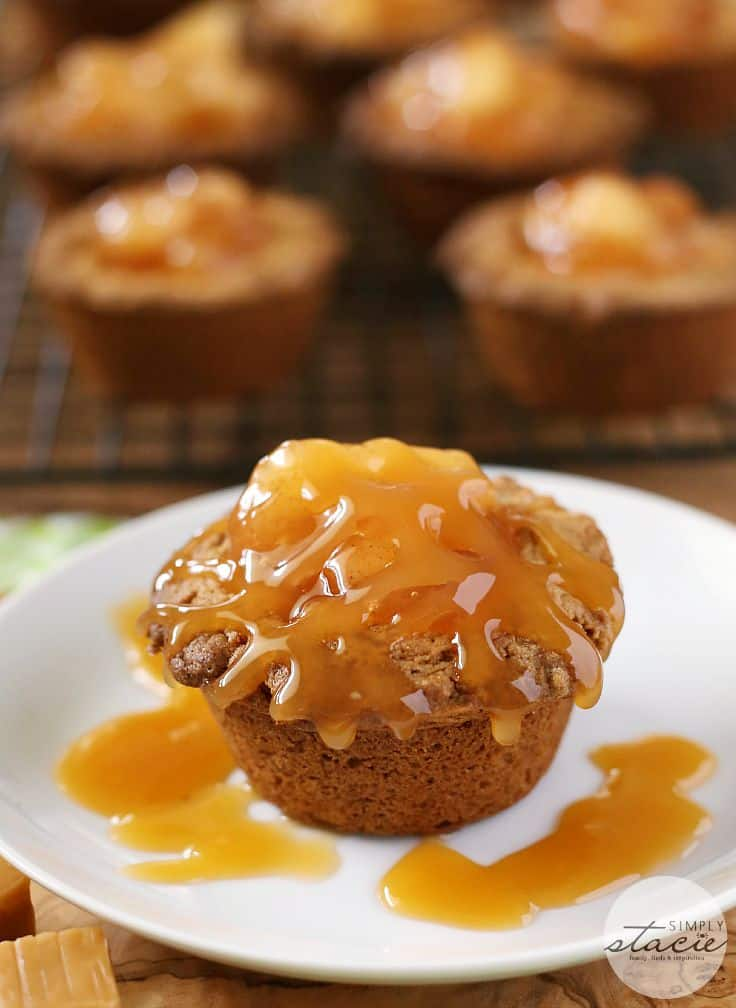 Caramel Apple Cake Cups - A sweet and decadent recipe made from butter pecan cake mix, Kraft caramels and apple pie filling!