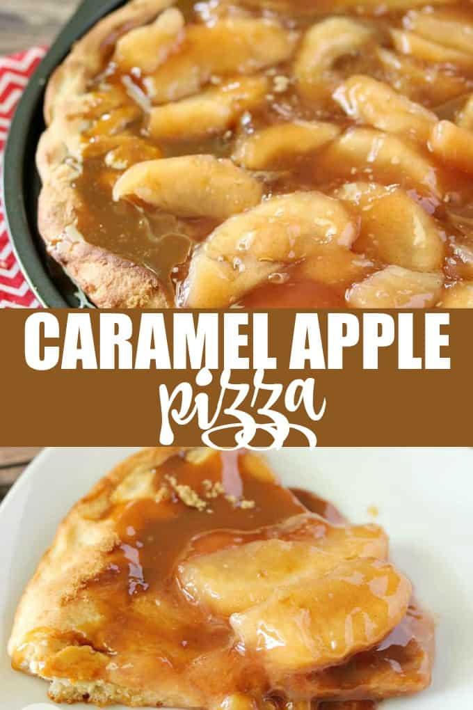 Caramel Apple Pizza - The PERFECT fall dessert pizza! Sweet cinnamon apple pie filling with rich caramel covering a basic pizza crust for the taste of pie without the mess and wait.