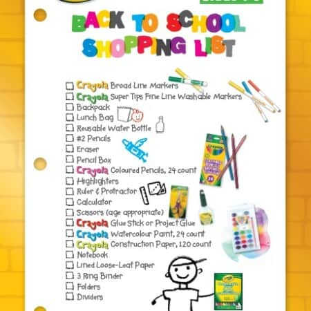Crayola Back to School Checklist
