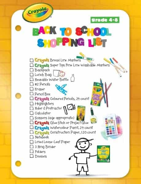 Crayola Back to School Checklist
